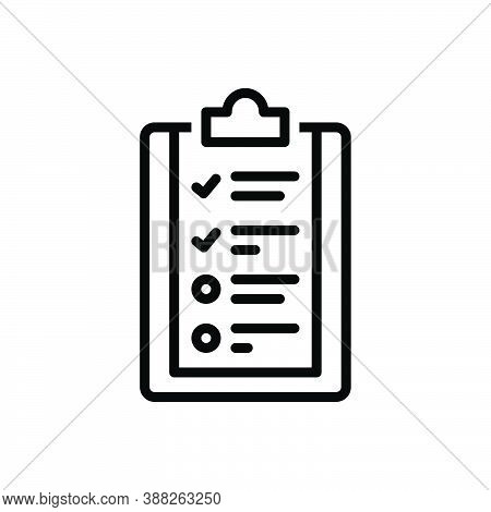 Black Line Icon For Require Desired Want Procedure Compliance Regulation Checkmark Quality
