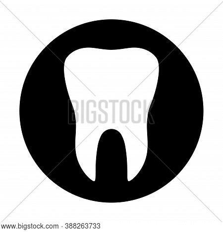 Tooth Flat Icon With Black Circle Isolated On White Background. Tooth Vector Illustration. Dentistry