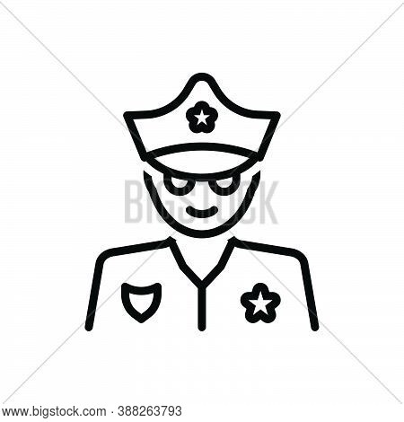 Black Line Icon For Cop Policeman Peeler Patrolman Hat Lawman Uniform Authority Defence Officer