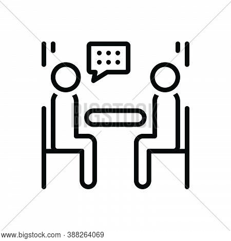 Black Line Icon For Interview Rondeau Interviewee Consultation Meeting Conference Discussion Worksho