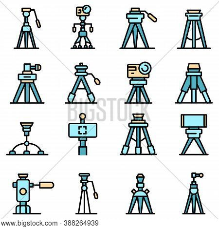 Tripod Icons Set. Outline Set Of Tripod Vector Icons Thin Line Color Flat On White