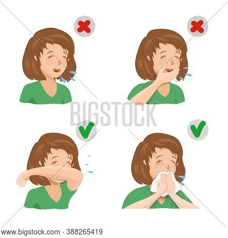 Girl Sneezing In Hand, Elbow And Napkin. Sneezes And Coughs Right And Wrong, Preventing The Spread O