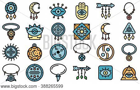 Amulet Icons Set. Outline Set Of Amulet Vector Icons Thin Line Color Flat On White