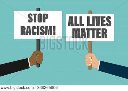 Anti Racism Vector Banner. Black Lives Matter. Stop Racist. Racial Diversity Race Concept. Together
