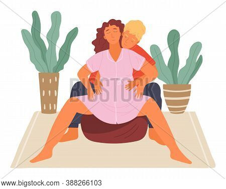 Birth Position Technique On Fitball, Man Husband Help Pregnant Woman During Birth Pains, Female With