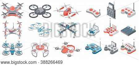 Drone With Remote Control, Collection Of Flying Digital Devices With Distance Control, Quadcopter Ty