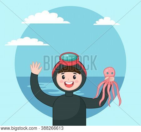 Diver Isolated Icon Portrait Of Diver In Diving Mask Holding Octopus At Background Of Sea And Sky, U