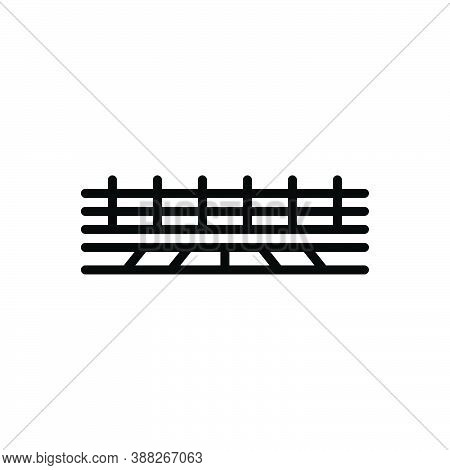 Black Line Icon For Boundary Limit Range Border Barrier Borderline Fence Protection Security