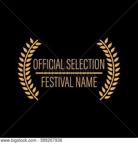 Film Movie Award Vector. Laurel Festival Winner Wreath. Best Cinema Star Icon. Gold Logo. Celebrity