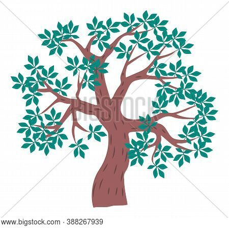 Tree Icon, Cartoon Illustration Of Green Tree With Leaves Isolated At White Background, Nature Conce