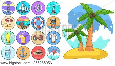 Palm Tree Isolated At White, Cartoon Style, Exotic Tree With Coconuts At Sand Beach At Jeju, Lightho