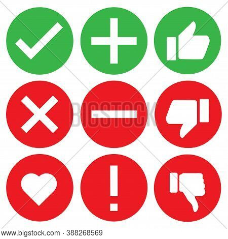Check Icon Mark Sign Set Vector Illustration. Stock Correct Checklist Box. Tick Heart X Ok True Canc