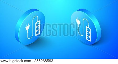 Isometric Electric Extension Cord Icon Isolated On Blue Background. Power Plug Socket. Blue Circle B