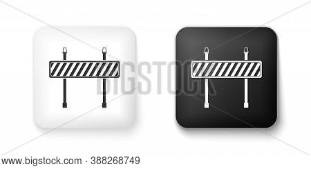 Black And White Road Barrier Icon Isolated On White Background. Fence Of Building Or Repair Works. H