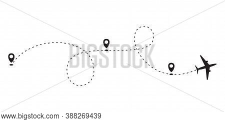 Path To Location By Plane, Tourism Way, Route Flight. Plane Path With Location Pins Vector Illustrat