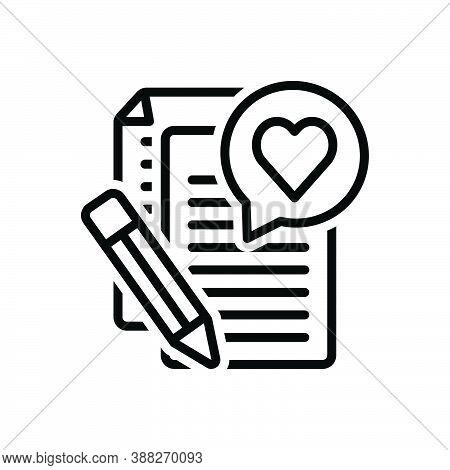 Black Line Icon For Story Narrative Saga Novel Biography Content Writing Paper Storytelling Writing