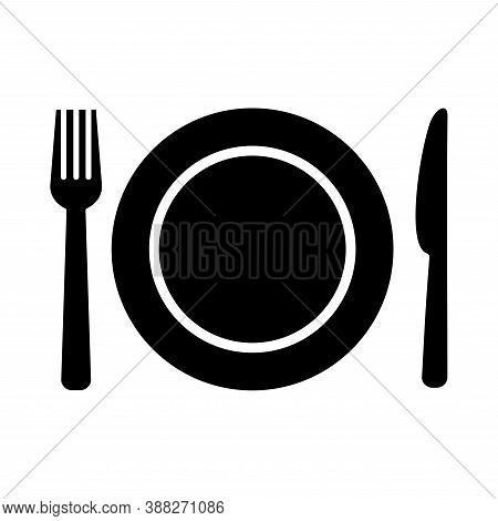 Plate, Fork And Knife Icon In Flat Style. Food Symbol Isolated On White Background. Bar, Cafe, Hotel
