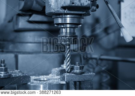 The Nc Milling Machine Milling  At The Metal Plate By Flat Endmill Tools. The Shop Floor Operation B