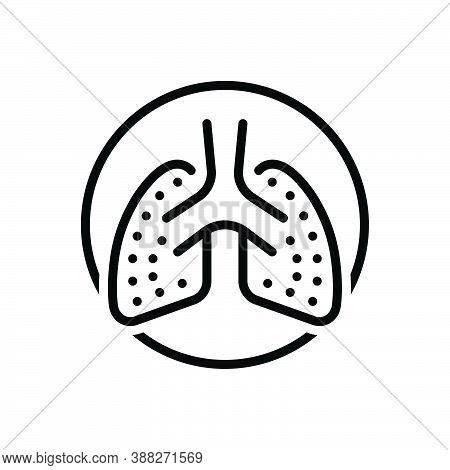 Black Line Icon For Lung Breath Human Respiratory Organ Biology Medical Artery Treatment Pulmonary B