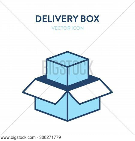 Open Delivery Box Flat Isometric Icon. Vector Illustration Of An Open Gift Box With Product Packagin