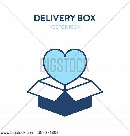 Open Delivery Box Flat Isometric Icon. Vector Illustration Of An Open Gift Box With Heart Shape Symb