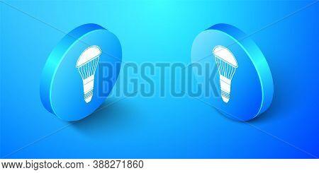 Isometric Led Light Bulb Icon Isolated On Blue Background. Economical Led Illuminated Lightbulb. Sav