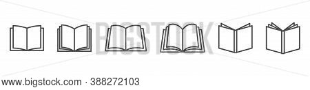 Open Book Vector Icon. Publish Literature Education Library Illustration. Open Reading Logo. On Whit