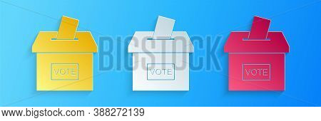 Paper Cut Vote Box Or Ballot Box With Envelope Icon Isolated On Blue Background. Paper Art Style. Ve