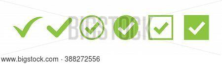 Check Mark Vector Icon. Green Box Set. Ok Choose Illustration On White Background. Correct Vote Choi