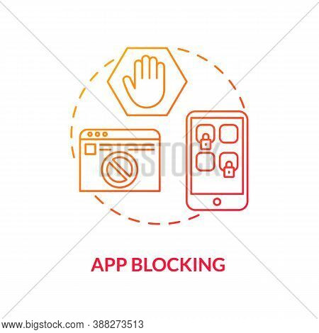 App Blocking Concept Icon. Parental Control Element Idea Thin Line Illustration. Block Access. Limit