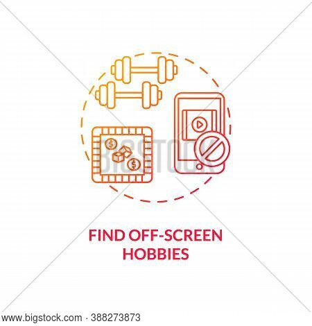 Find Off-screen Hobbies Concept Icon. Smartphone Dependence Reducing Idea Thin Line Illustration. Pa