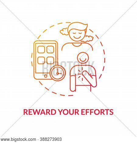 Reward Efforts Concept Icon. Smartphone Dependence Reducing Idea Thin Line Illustration. Real-life A