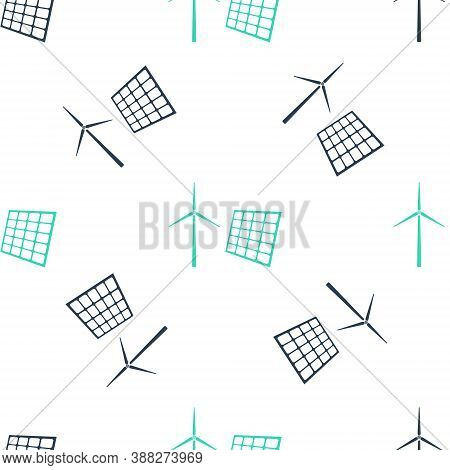 Green Wind Mill Turbines Generating Electricity And Solar Panel Icon Isolated Seamless Pattern On Wh