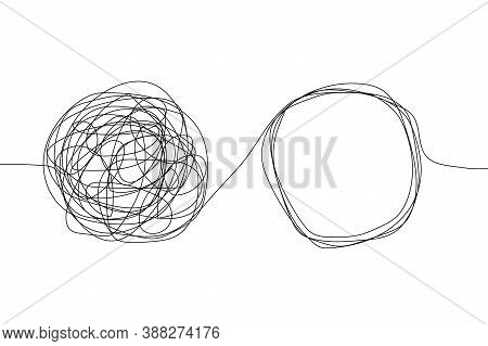 Psychotherapy Tangle Conceptlogo Icon Vector. Abstract Sketch Untangle Problem. Chaos Brain Solution