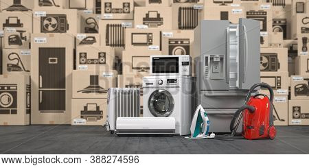 Household appliances and kitchen electronics in cardboard boxes in warehouse. Online purchase, shopping  and delivery concept. 3d illustration