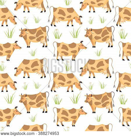 Hand Drawn Quirky Milk Cow Seamless Vector Pattern. Domestic Animals Cartoon Illustration. Brown Cow