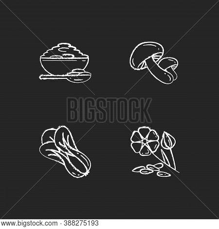 Healthy Grains Chalk White Icons Set On Black Background. Organic Shiitake Mushrooms. Eco Seed Meal