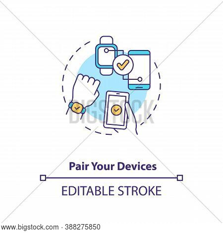 Pair Devices Concept Icon. Setup Instruction Idea Thin Line Illustration. Sync Mode. Basic Pairing V
