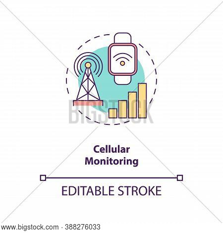 Cellular Monitoring Concept Icon. Mobile Network Idea Thin Line Illustration. 4g Cellular-enabled Co