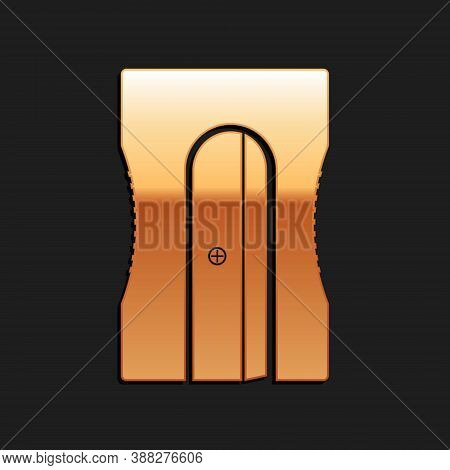 Gold Pencil Sharpener Icon Isolated On Black Background. Long Shadow Style. Vector