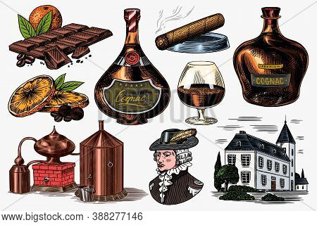 Cognac And Hand With Glass, Bottles With Labels, Cigar And Cocktail, Sweets And Farm, Chocolate And