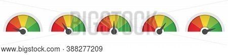 Scale Low To High, Green And Red Vector Gauge. Risk, Pain, Feedback Barometer Sign, Performance Symb