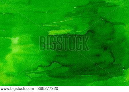 Watercolor On Paper Texture, Abstract Background In Green Shades