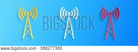 Paper Cut Antenna Icon Isolated On Blue Background. Radio Antenna Wireless. Technology And Network S