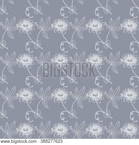 Seamless Pattern With Outline Tropical Passiflora Or Passionflower, On The Grey Background. Floral V