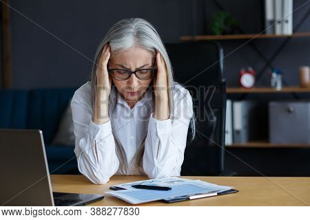 Burnout And Overwork Concept.tired Businesswoman Working Overtime In Office.portrait Of Stressed Gre