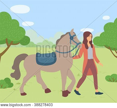 Woman Walking With Horse In Park, Summertime. Smiling Female Rider Going With Stallion Outdoor, Woma