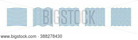 Wave Pattern Vector. Abstract Geometric Graphic Wallpaper On White Background.blue Water Texture Cur