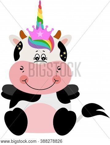 Scalable Vectorial Representing A Cute Cow With Unicorn Horn, Element For Design, Illustration Isola