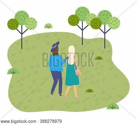 Women Walk In The Park. Meeting Of Girlfriends In Open Space. Two Friends Women Back View Walking In